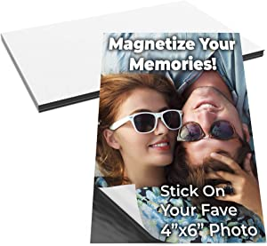 Magnetize Memories with 4x6 in Adhesive Photo Magnets 10pk. Peel-and-Stick Magnetizers Turn School Crafts, Family Pictures or Kids Art Into Durable, Flexible Gifts. Custom Sheets for Fridge or Car