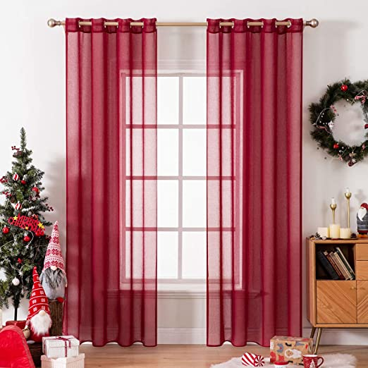 Amazon Com Miulee 2 Panels Burgundy Semi Sheer Window Curtains Christmas Elegant Decoration Grommet Top Window Voile Panels Drapes Treatment Linen Textured Panels For Bedroom Living Room 54x84 Inch Length Kitchen Dining