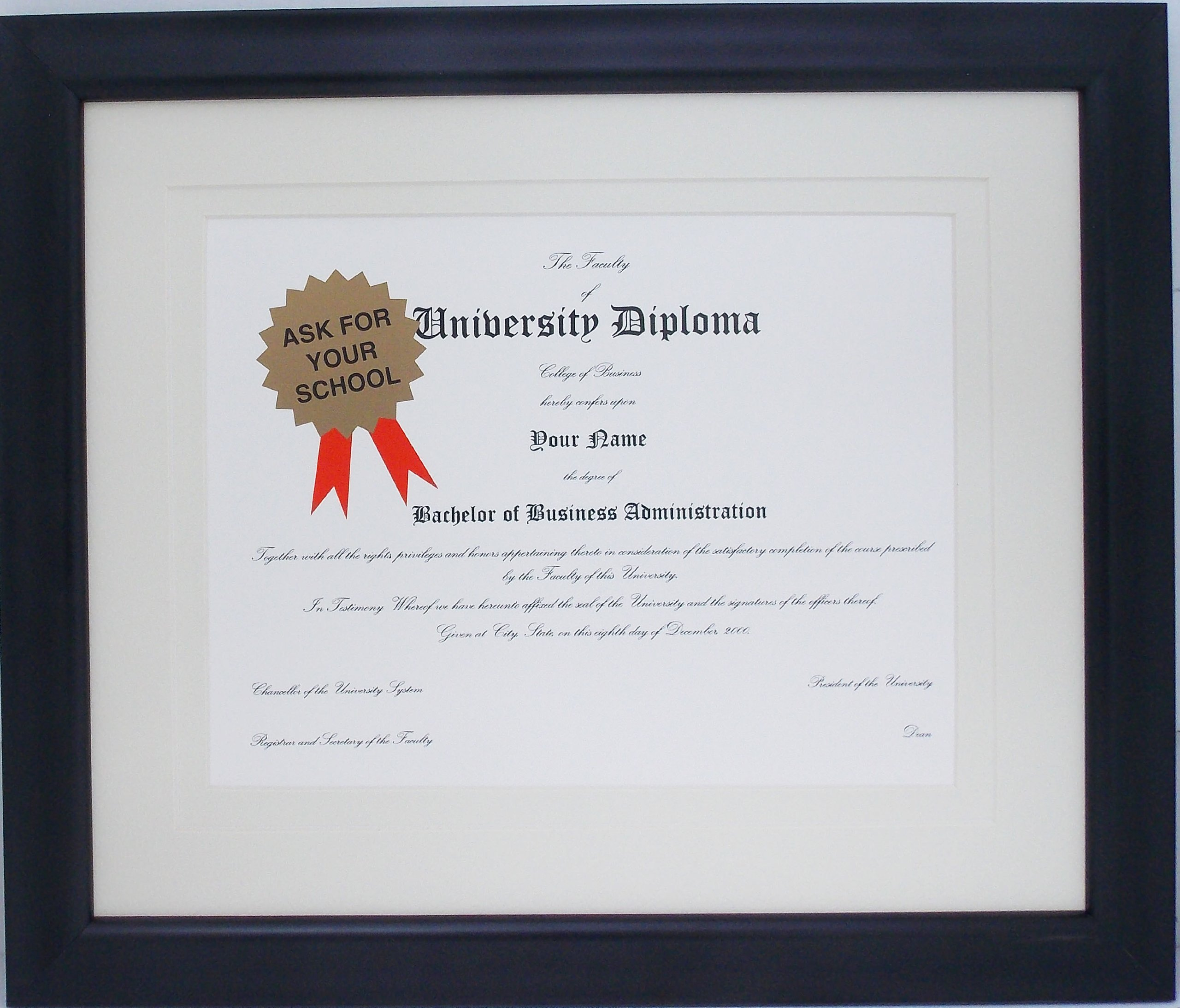 Graduation Diploma Certificate University College 8-1/2 X 11 Black Matted Frame