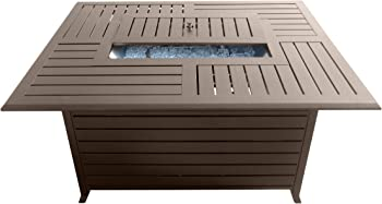 AZ Patio Heaters Extruded Aluminum Rectangular Gas Fire Pit