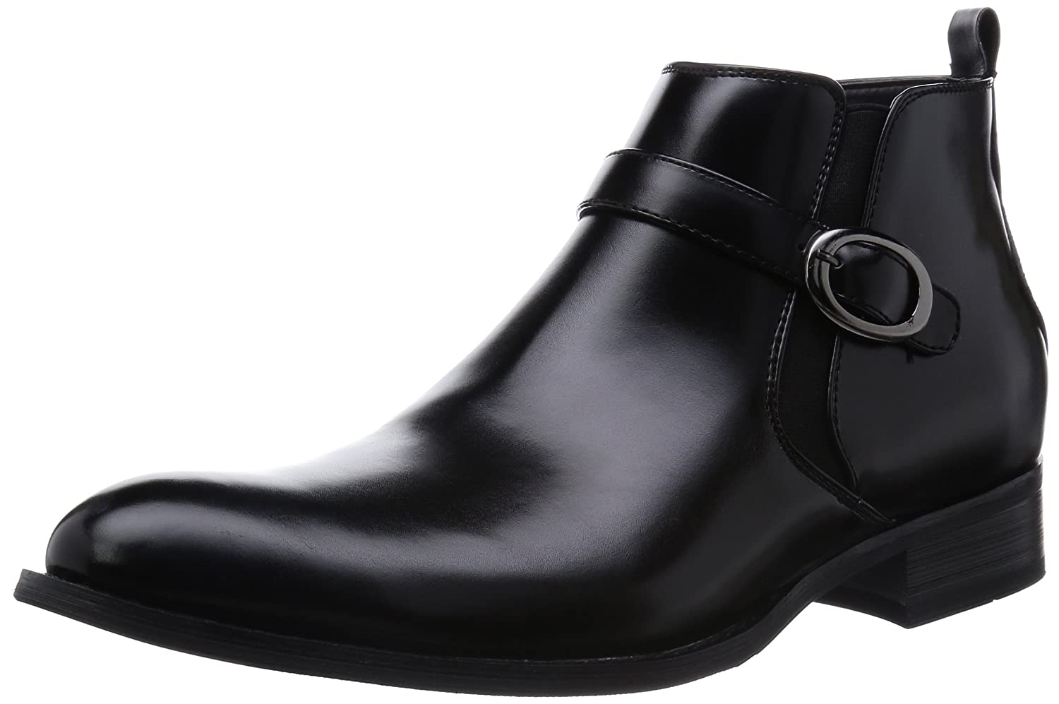 MM/ONE Men's Elevator Shoes Plain-toe Side Zipper Buckle Ankle Boots Black Dark Brown