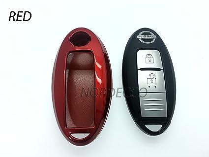 Carcasa para mando de llave de coche dura y brillante, para mando con 2 o 3 botones y sin llave para Nissan, color rojo