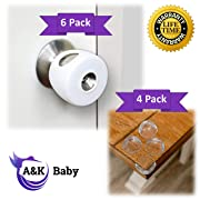 Door Knob Safety Cover for Child Safety (6 Pack) - Minimal Baby Proofing Knob Covers for The Door Handle | Baby Proof Child Proof Safety Locks for Kids, Toddlers, Babies | 4 Clear Corner Guards