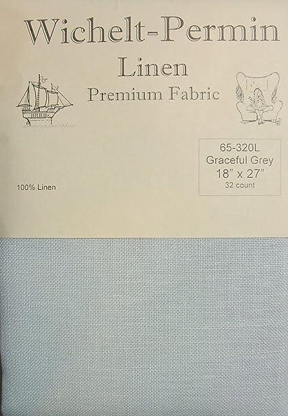 Wichelt Permin PREMIUM LINEN FABRIC 32 Ct Cross Stitch 18 x 27 Black