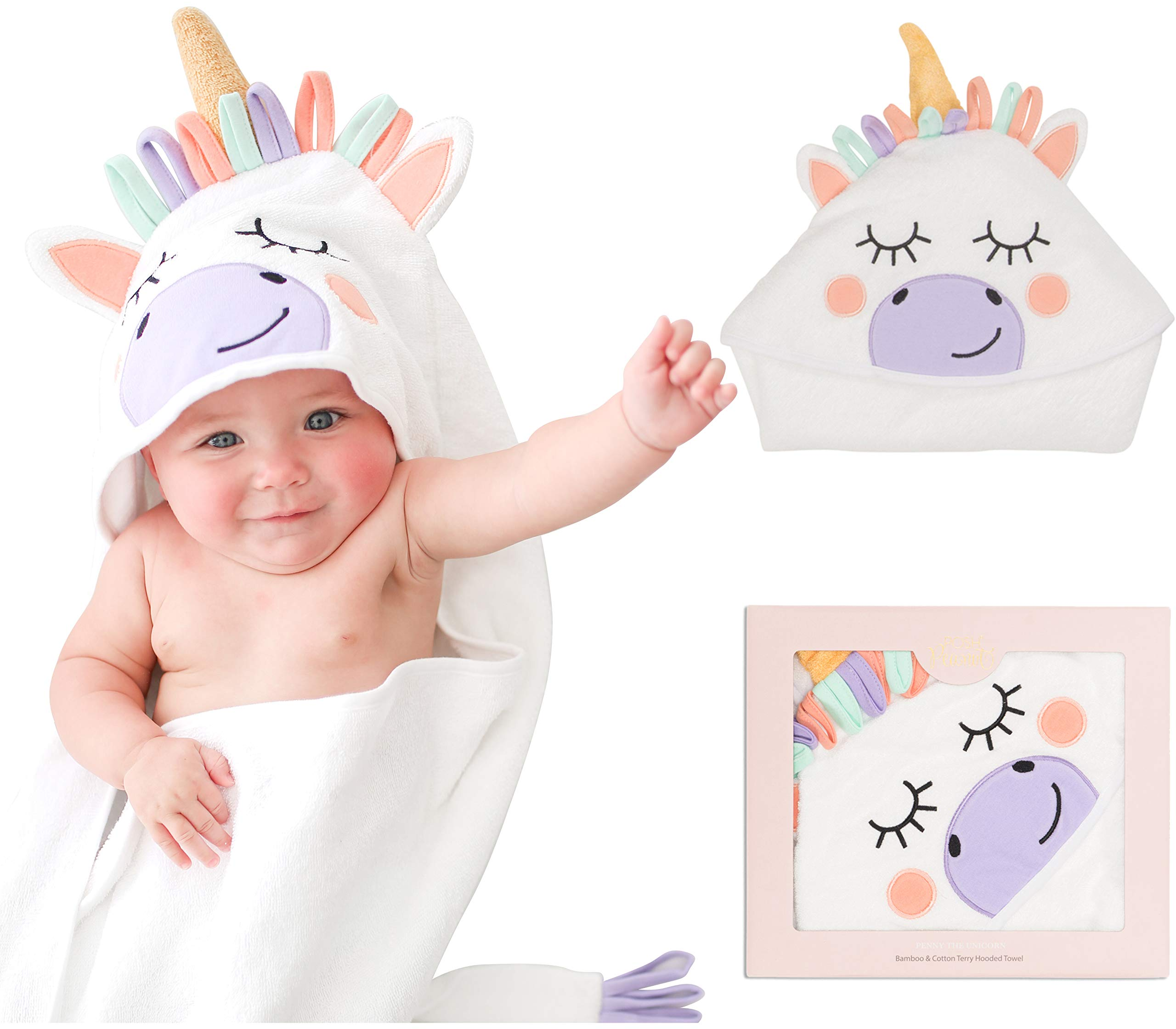 Posh Peanut Baby Hooded Towel - Highly Absorbent Cotton Infant Towel for The House, Beach, Pool - Super Soft Newborn Drying Bath Towel - Great Baby Shower Gift Idea (Unicorn)