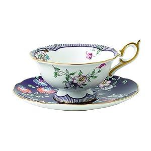 Wedgwood 40024023 Wonderlust Teacup & Saucer Set Midnight Crane 2 Piece