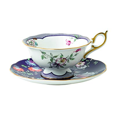 Wedgwood 40024023 Wonderlust Teacup and Saucer, 2 Piece Set, Midnight Crane