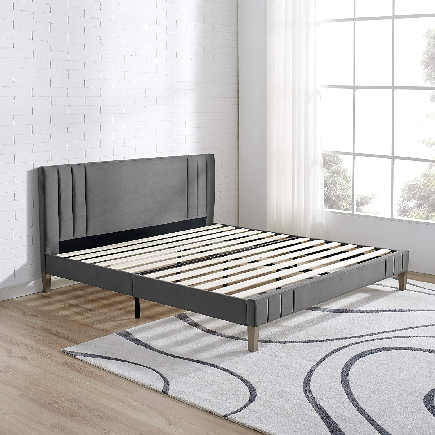 Classic Brands DeCoro Chicago Channel Tufted Upholstered Platform Bed Headboard and Wood Frame with Wood Slat Support, King, Antonio Mid Night