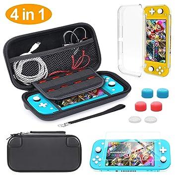 HeysTop Funda para Nintendo Switch Lite, 4in1 Accesorios Nintendo Switch Lite, con Carcasa Transparente, Estuche de Transporte, Protector de Pantalla ...