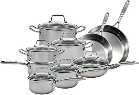 Oneida 15pc Stainless Steel Induction Ready Copper Base Cookware Set. Dishwasher Safe.