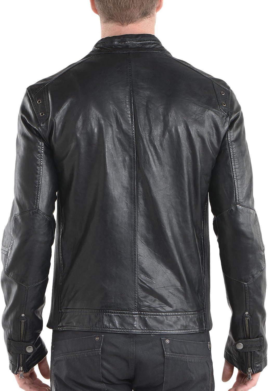 New Mens Genuine Lambskin Leather Slim Fit Biker Motorcycle Jacket for Men P058