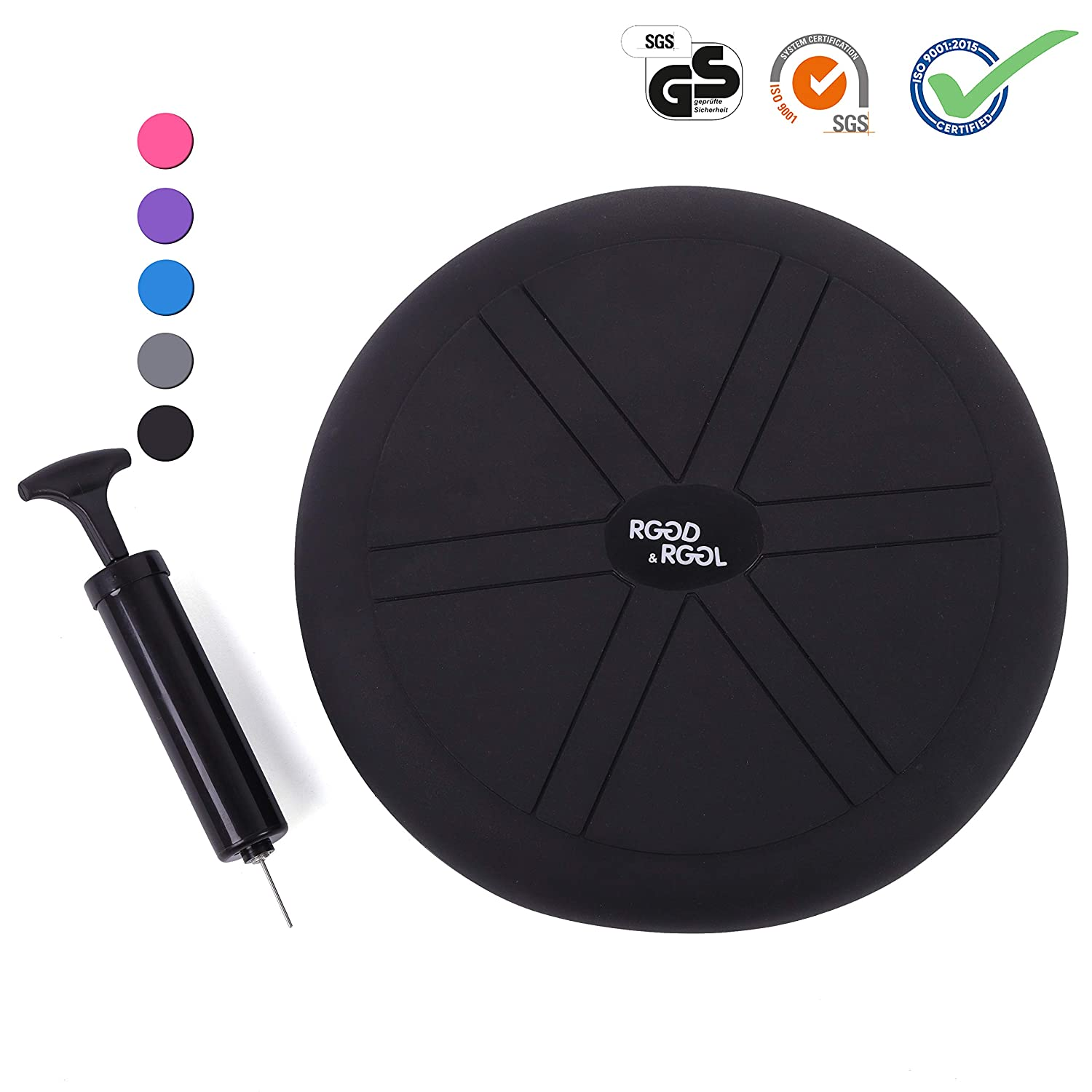 RGGD RGGL Wobble Cushion for Workout and Therapy,Support 442 lbs, 13 14inch Extra Thick Balance Disc with Pump,Kids Wiggle Seat,Sensory Cushion for Classroom Office Home