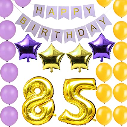 LOVELY BITONIaa Gold 85th Birthday Party Decorations Kit Happy Banner Number Balloons Include A