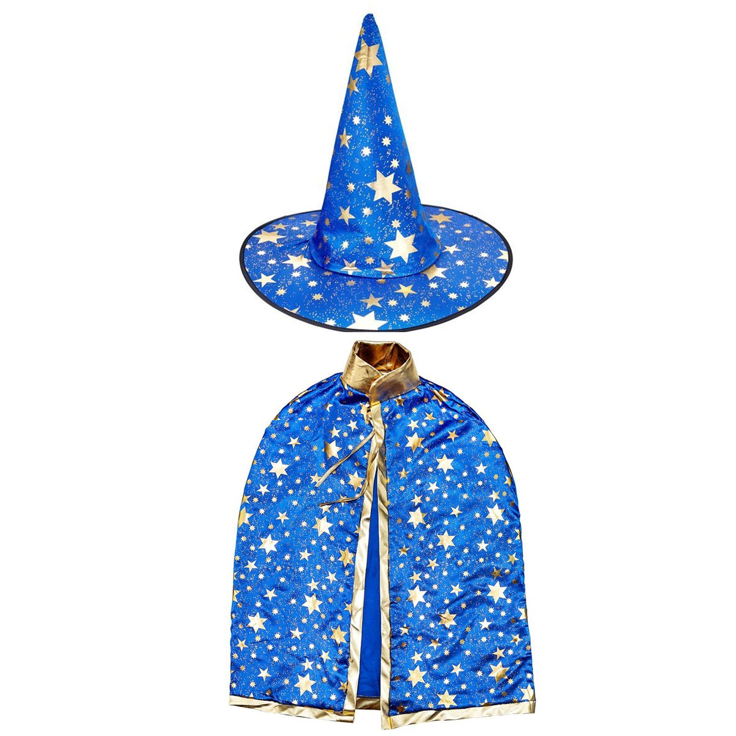 Blue Gold Wizard Cape Cloak and Hat Child's Costume Girls Boys Merlin Inspired