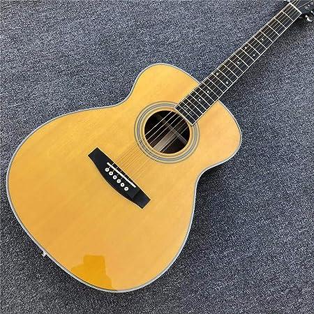 ABMBERTK , Guitarra, Amarillo, Guitarra acústica Estilo OM, diapasón de la Firma, Abeto Macizo, Guitarra acústica Superior, Estuche de Guitarra Fishman, 41 Pulgadas: Amazon.es: Hogar