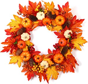 Fall Wreath for Front Door - 24 Inch Handmade Autumn Door Floral Wreath for Thanksgiving Halloween Fall Home Décor with Gift Box (Orange#2)