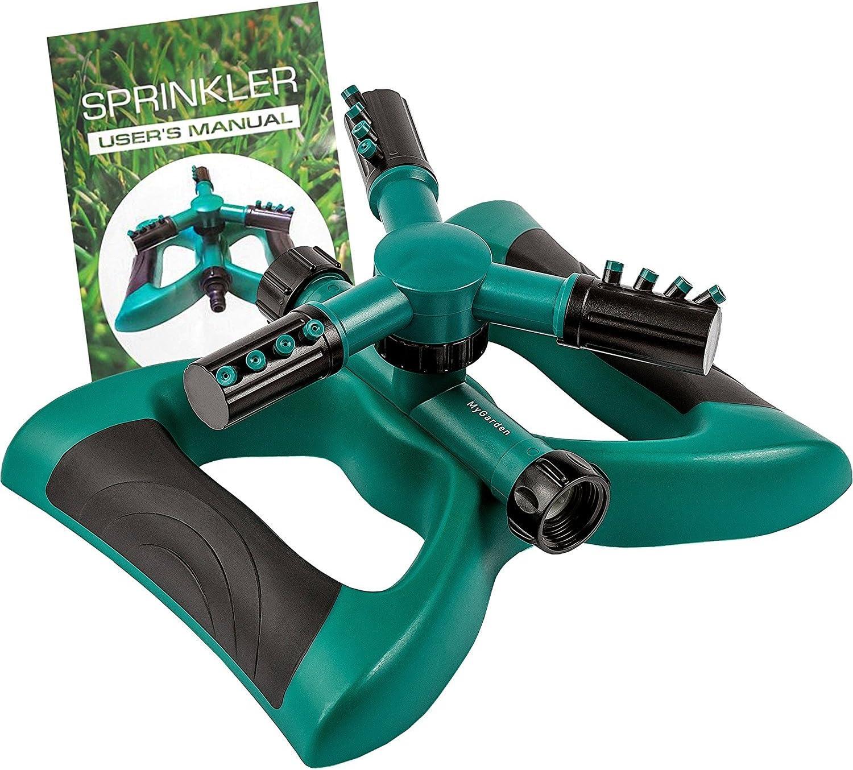 Water Sprinkler Solid Weighted Base MyGarden Sprinkler Three Arm ...