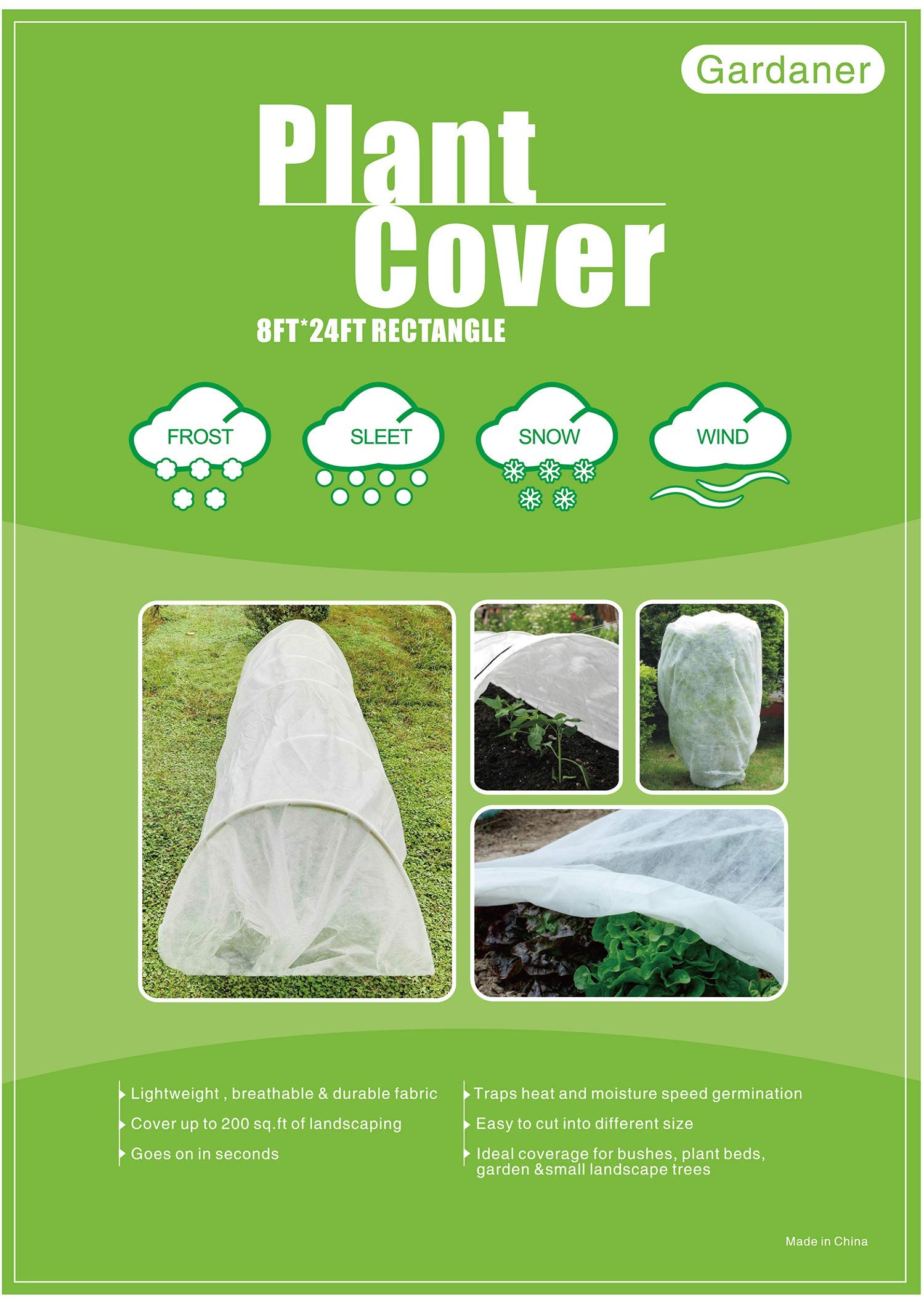 Gardaner Plant Covers Freeze Protection & Plant Blanket Fabric 8Ft x 24Ft Rectangle Plant Cover for Cold Weather