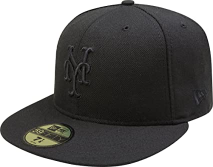 new arrival 52586 a0d25 MLB New York Mets Black on Black 59FIFTY Fitted Cap, 6 7 8