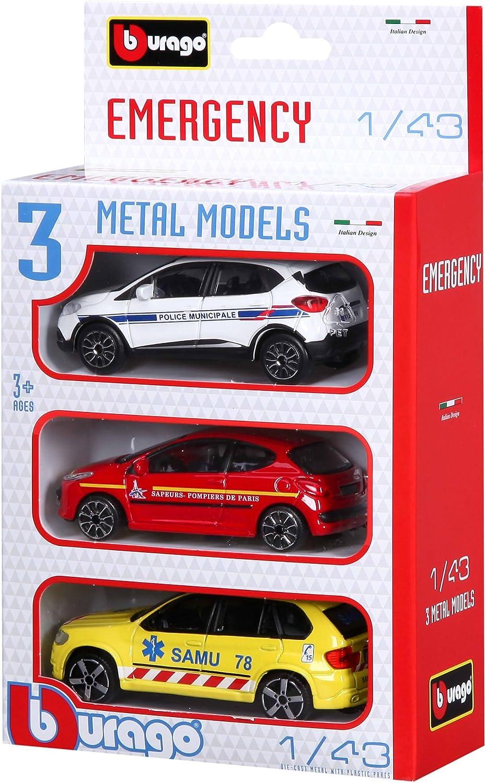 Bburago-Bburago-30009-Street Fire-Emergency Forces France-Echelle 1//43 durgence 30009 Pack Al/éatoire de 3 vehicules