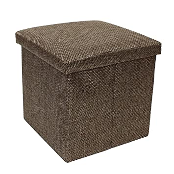 2 Cubic Foot Extra Padded Storage Ottoman With Lift Top, Brown Woven Fabric,