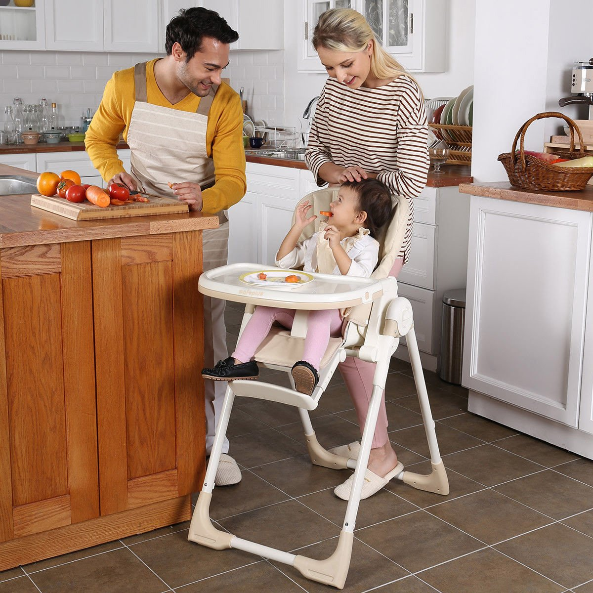Folding Height Adjustable Recline Feeding Baby High Chair Yellow