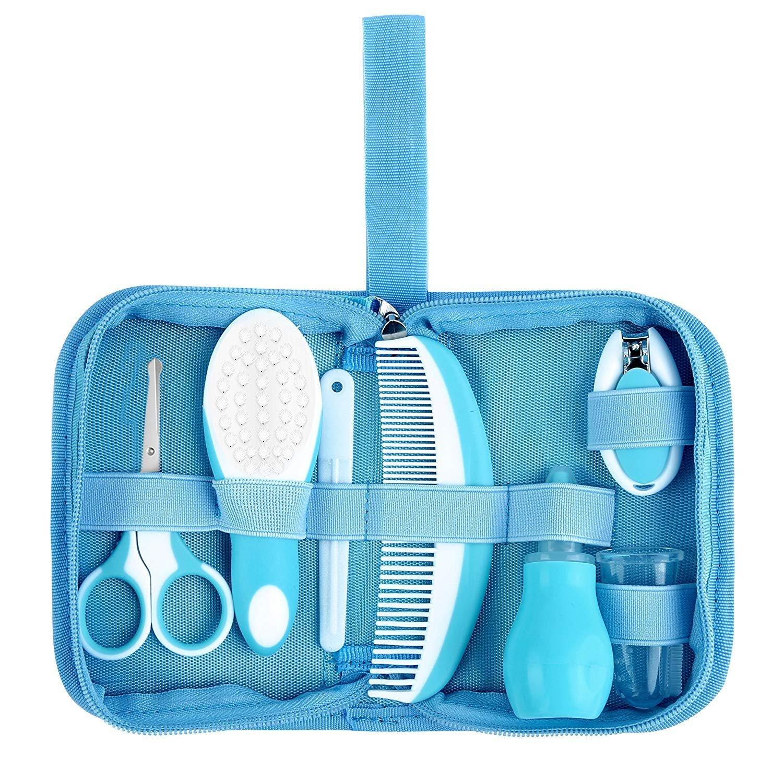 7 Piezas Esenciales de Cuidado y Aseo para Bebés - IntiPal Kit Completo de Cuidado Infantil para Guardería con Bolsa Libre de BPA, 1 Peine, 1 Cepillo ...