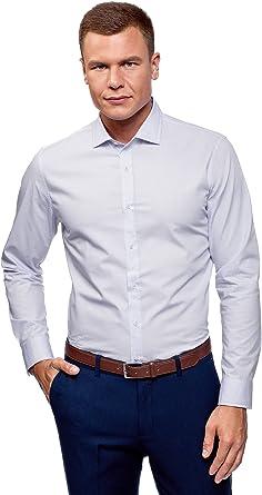 oodji Ultra Hombre Camisa Ajustada Estampado Gráfico: Amazon.es ...