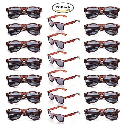 Onnea 20 Piezas Gafas de Sol Fiesta Colores Paquete Años 80 para Mujer Hombres (20 Marrones)