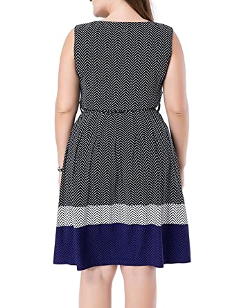 5c493c4fc42c04 Beautifullight Fashion Women s Sleeveless Chevron Border Printed Plus Size  Dress 12