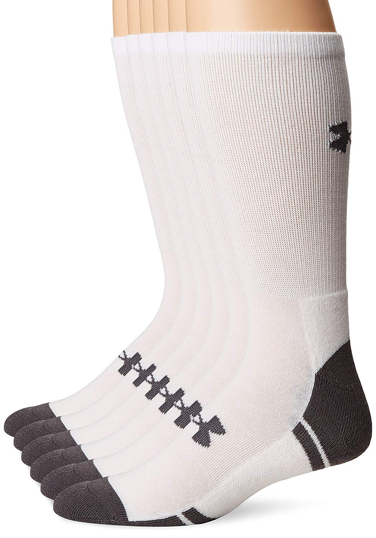 Under Armour Resistor 3.0 Crew Athletic Socks (12 Pack), White/Graphite, Large
