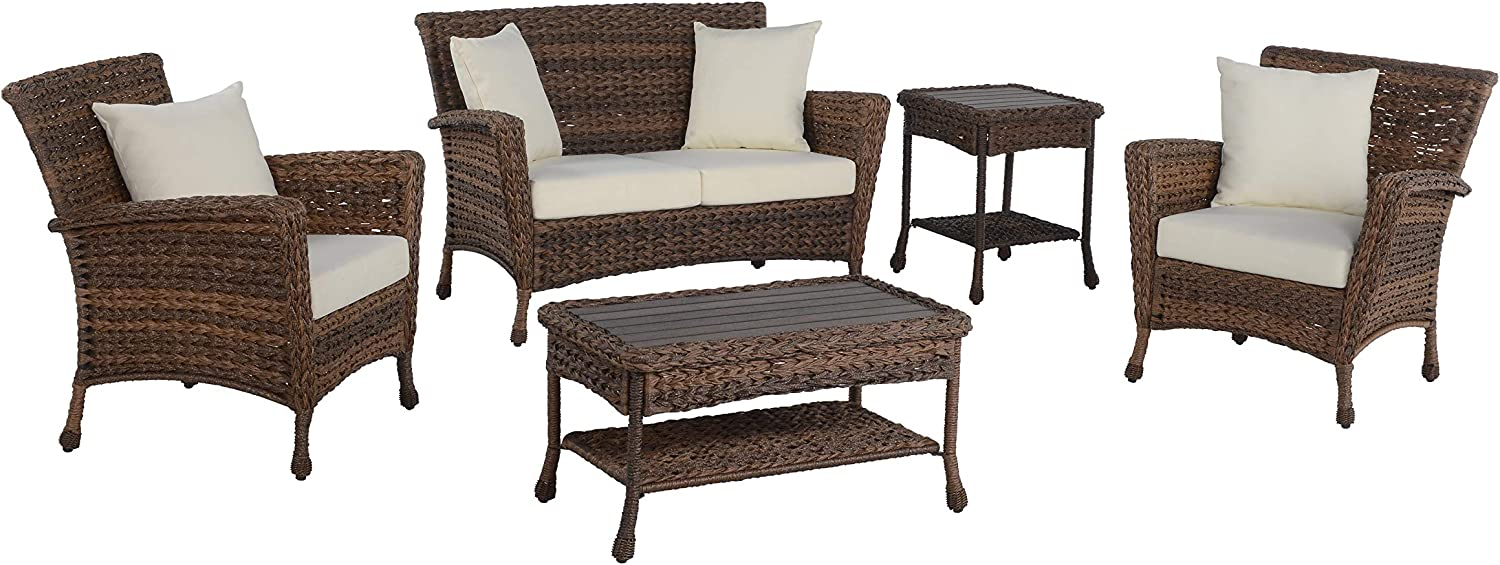 W Unlimited Outdoor Faux Sea Grass Garden Patio 5-PC Furniture Set, Brown