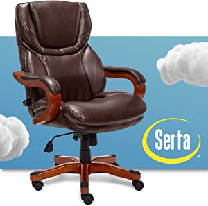 Serta Big and Tall Executive Office Chair with Wood Accents Adjustable High Back Ergonomic Lumbar Support, Bonded Leather, Brown