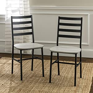 Walker Edison Furniture Company Ladder Back Industrial FarmhouseWood and Metal Armless Dining Chairs Kitchen Stone GreySet of 2 (AZH18SBMW2ST)