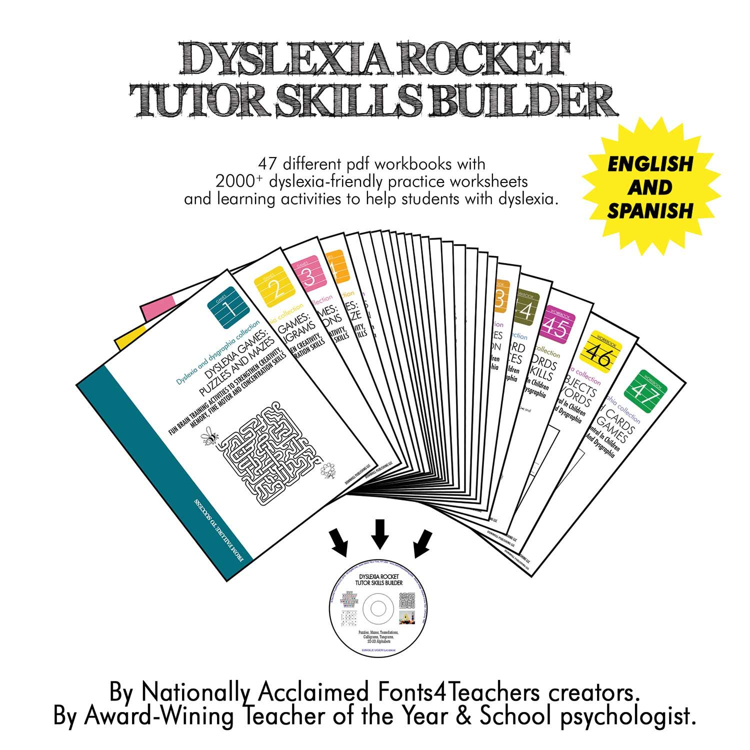 Dyslexia Rocket Tutor Skills Builder CD-ROM | Dyslexia Games | 47 Printable Workbooks | +2000 Practice Worksheets | For Kids from 4 to 10 Years.