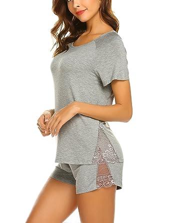 93809964752533 MAXMODA Pyjama Shorty Damen Schlafanzug Rundhals Nachtwäsche mit Spitze  Kurzarm Shirt und Shorts Grau XL