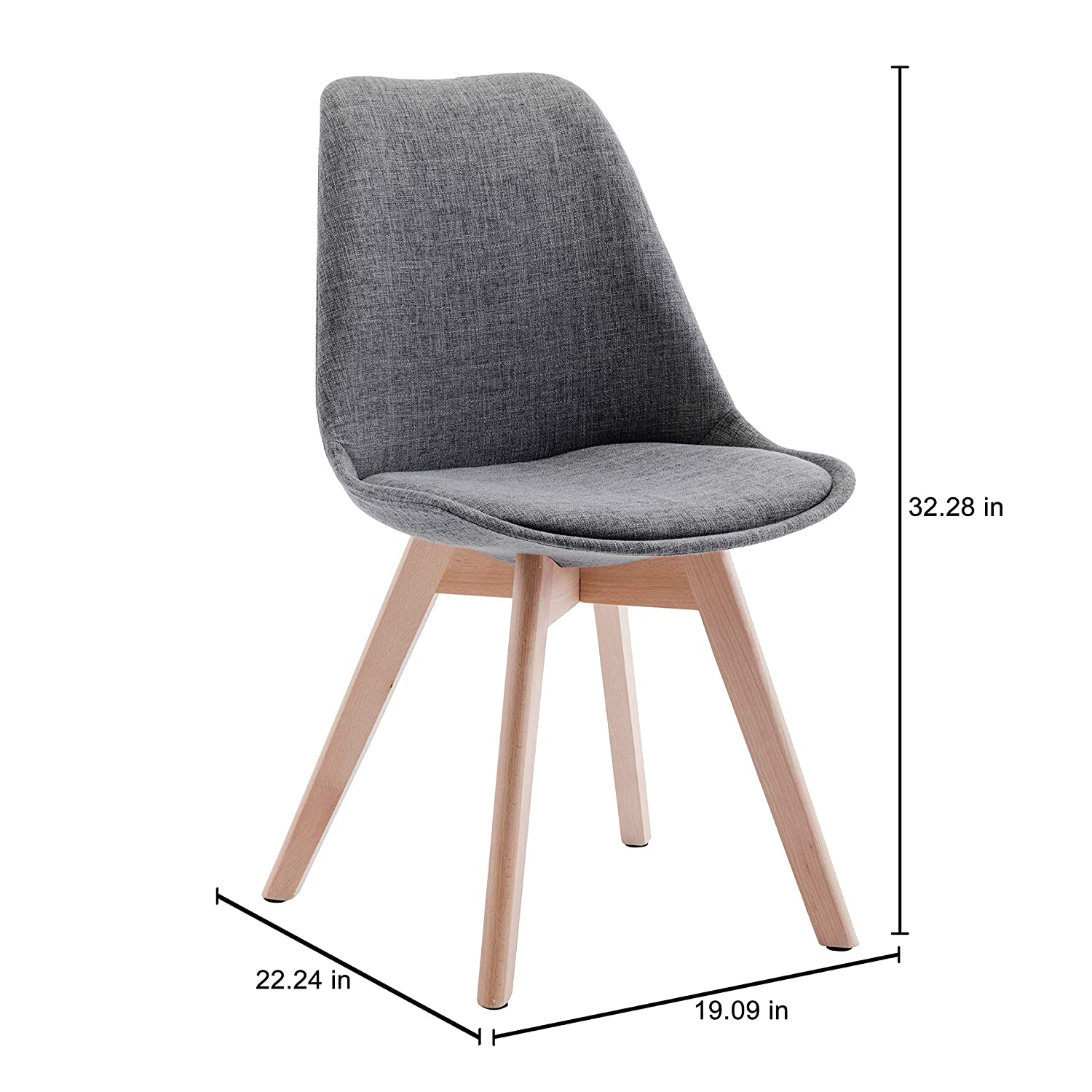 Size 32x19x22 Inches Sturdy Support Upholstered Side Chairs for Home or Business Porthos Home TFC052A BLU Set of 2 Modern Dining Room Stylish Beech Wood Legs for Practical Grey or Blue One