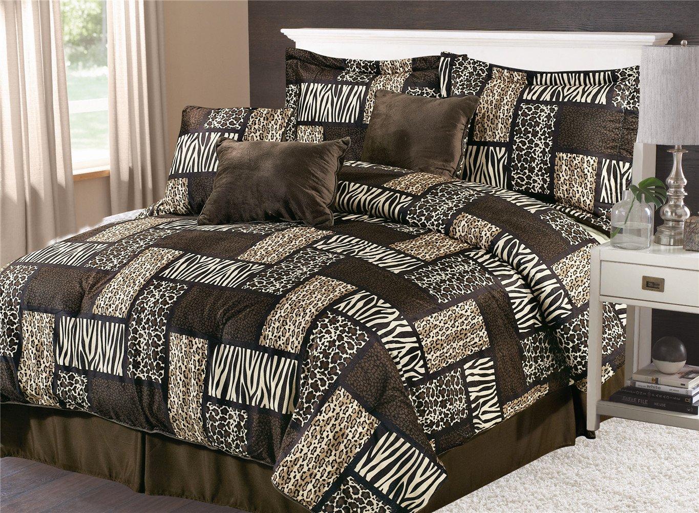 7pc Micro-Fur Animal Print Patchwork Comforter Set