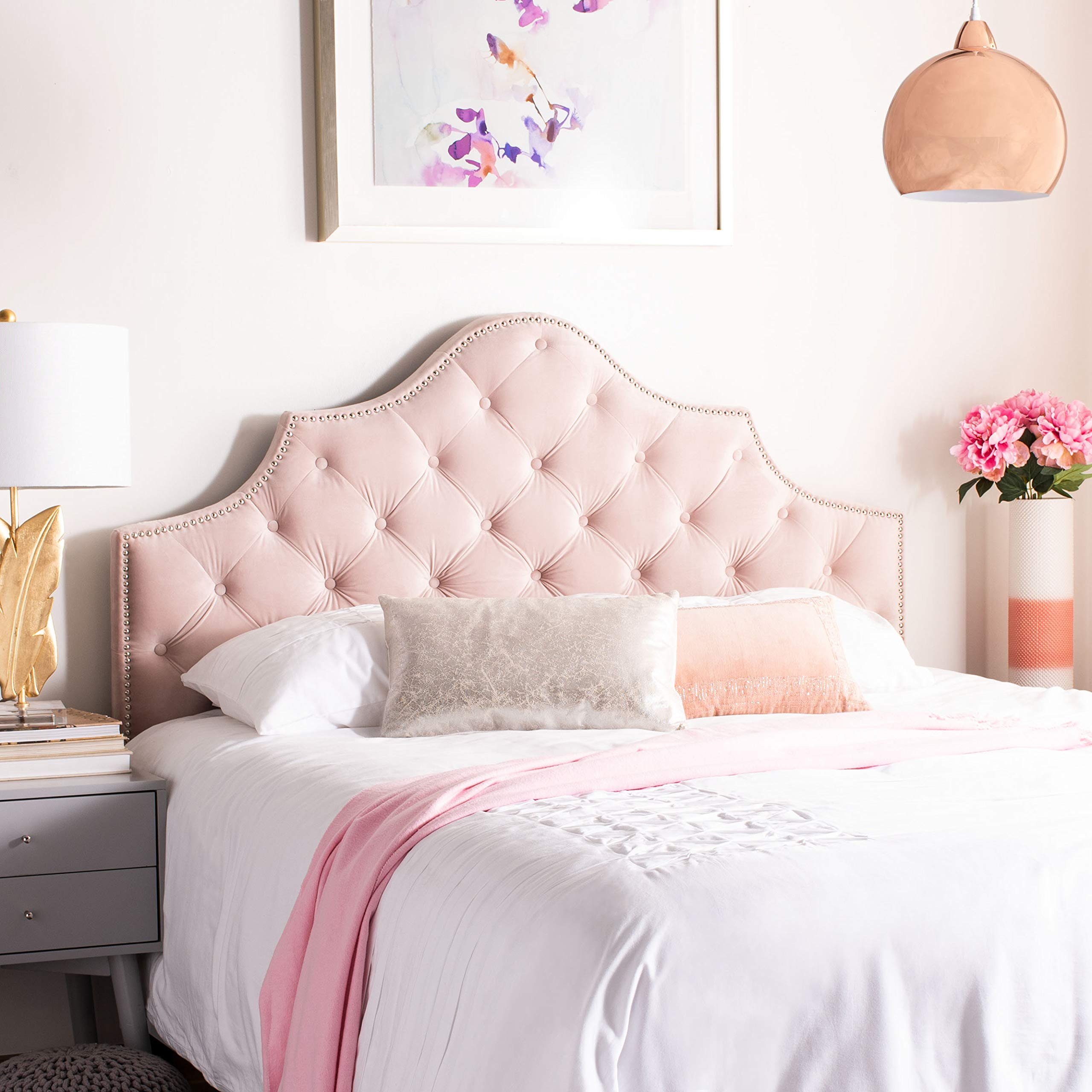 Safavieh MCR4036K-Q Home Collection Arebelle Blush Pink Velvet Tufted (Queen) Headboard, by Safavieh