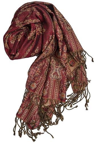 Pashmina - Bufanda de Punja, India, calentita y elegante, estampado Paisley, 180 x 70 cm - 60% seda,...