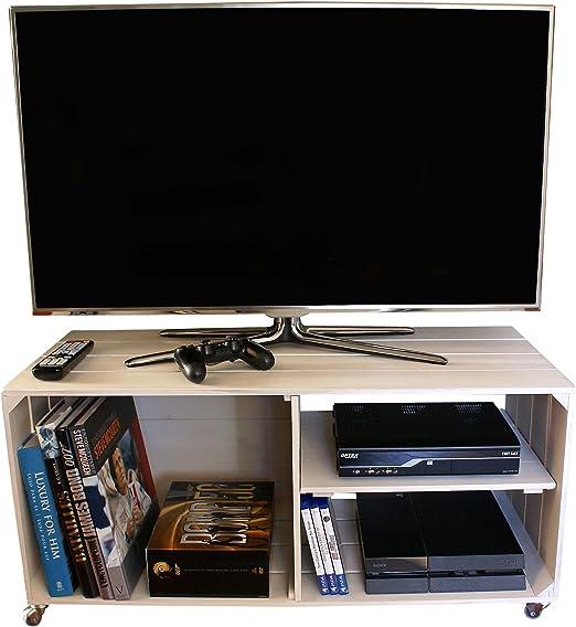 Liza Line Mesa DE Madera, Mueble TV con 3 Compartimentos y Ruedas ...