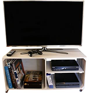 Liza Line Mesa DE Madera, Mueble TV con 3 Compartimentos y Ruedas Giratorias. Mueble