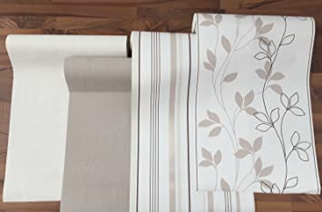 Vlies Tapete Rasch Home Style Creme Braun Beige Streifen Floral Putz  Struktur (415749 Uni Braun