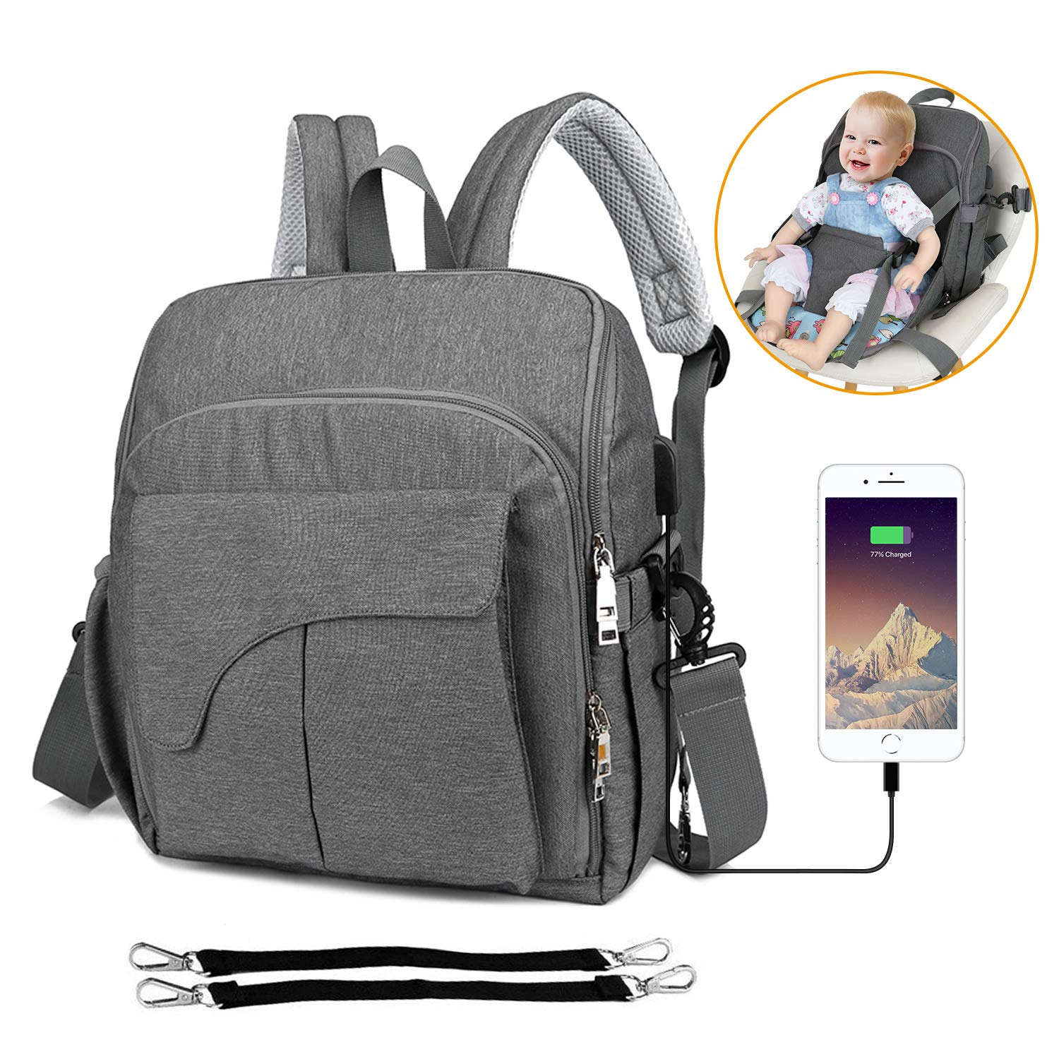 Baby Nappy Changing Bag Diaper Backpack with Baby Seat - Multi-Function Waterproof Bags with USB Charging Port Mom's All-Around Helper Changing Bag