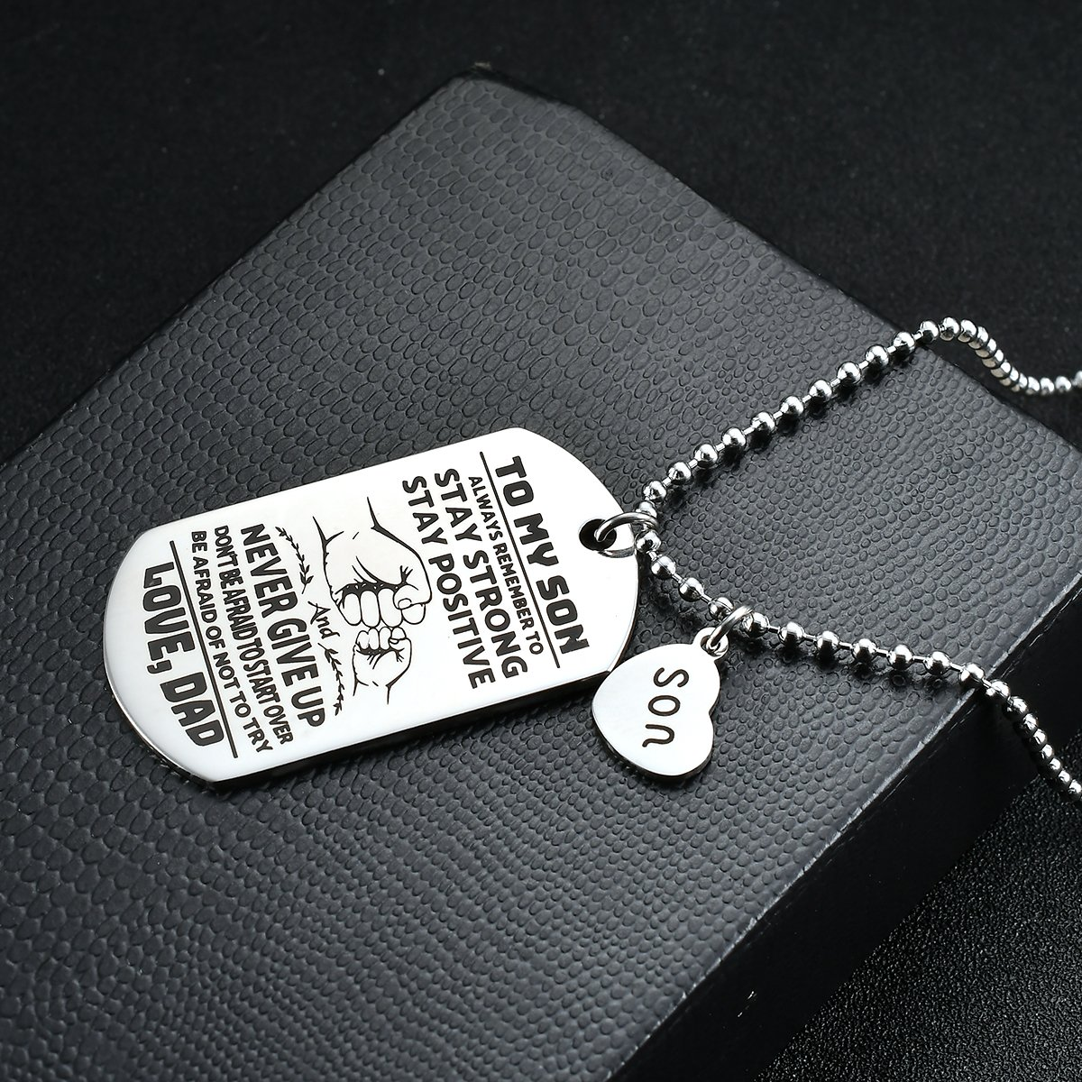 NOVLOVE To My Son from dad Never Forget That I Love Dad You Dog Tag Father Daddy Stay Positive Never Give Up Quotes Military Air Force Navy Necklace Gift Best Son Birthday Graduation by NOVLOVE (Image #5)