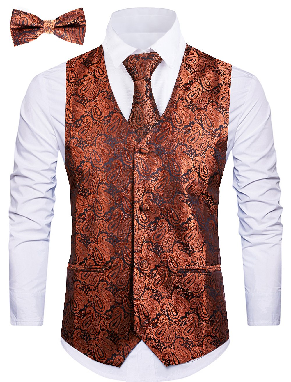Cyparissus 3pc Paisley Vest for Men with Neck Tie and Bow Tie Set for Suit Tuxedo (XXL, Coffee)