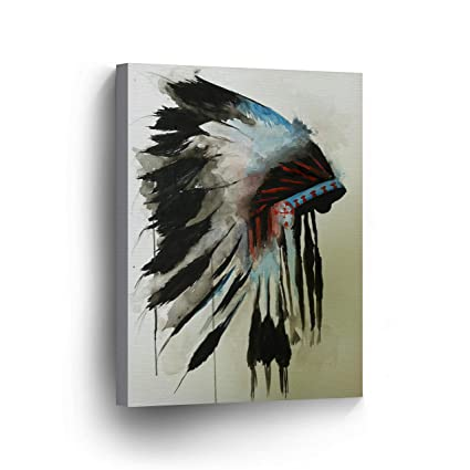 INDIAN WALL ART Native American Chiefs Headdress Feathered Watercolor  Canvas Print Home Decor Decorative Artwork Gallery Wrapped Wood Stretched  and
