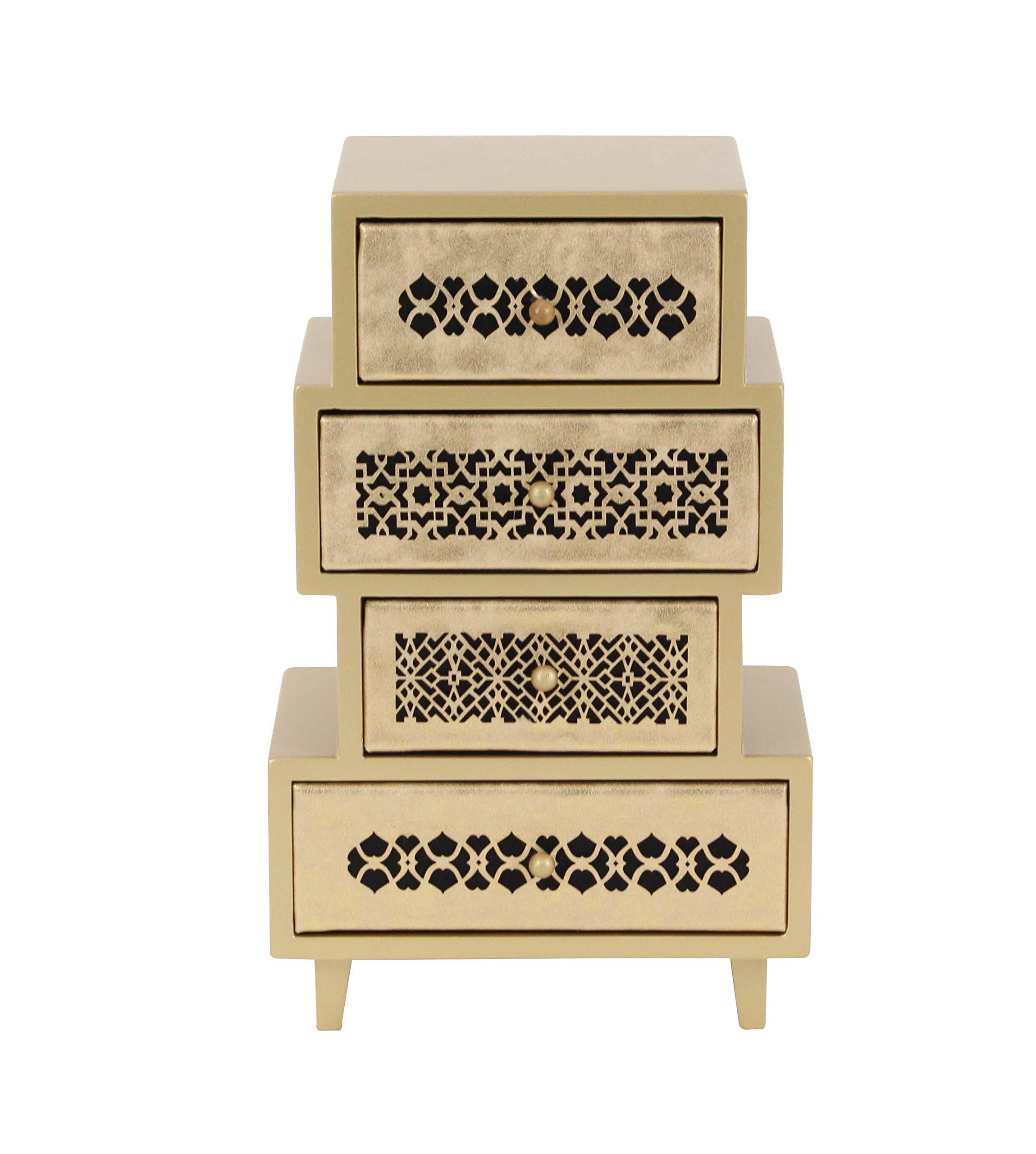 Deco 79 82183 Four-Drawer Asymmetrical-Shaped Jewelry Chest, 13'' x 8'', Palegold/Black