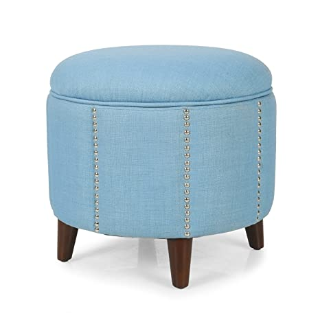 Super Joveco Blue Solid Build Stylish Round Accent Ottoman With Nailhead Trim Storage Product Dimensions 18 5 18 5 17 5 Lwh Inches Gmtry Best Dining Table And Chair Ideas Images Gmtryco