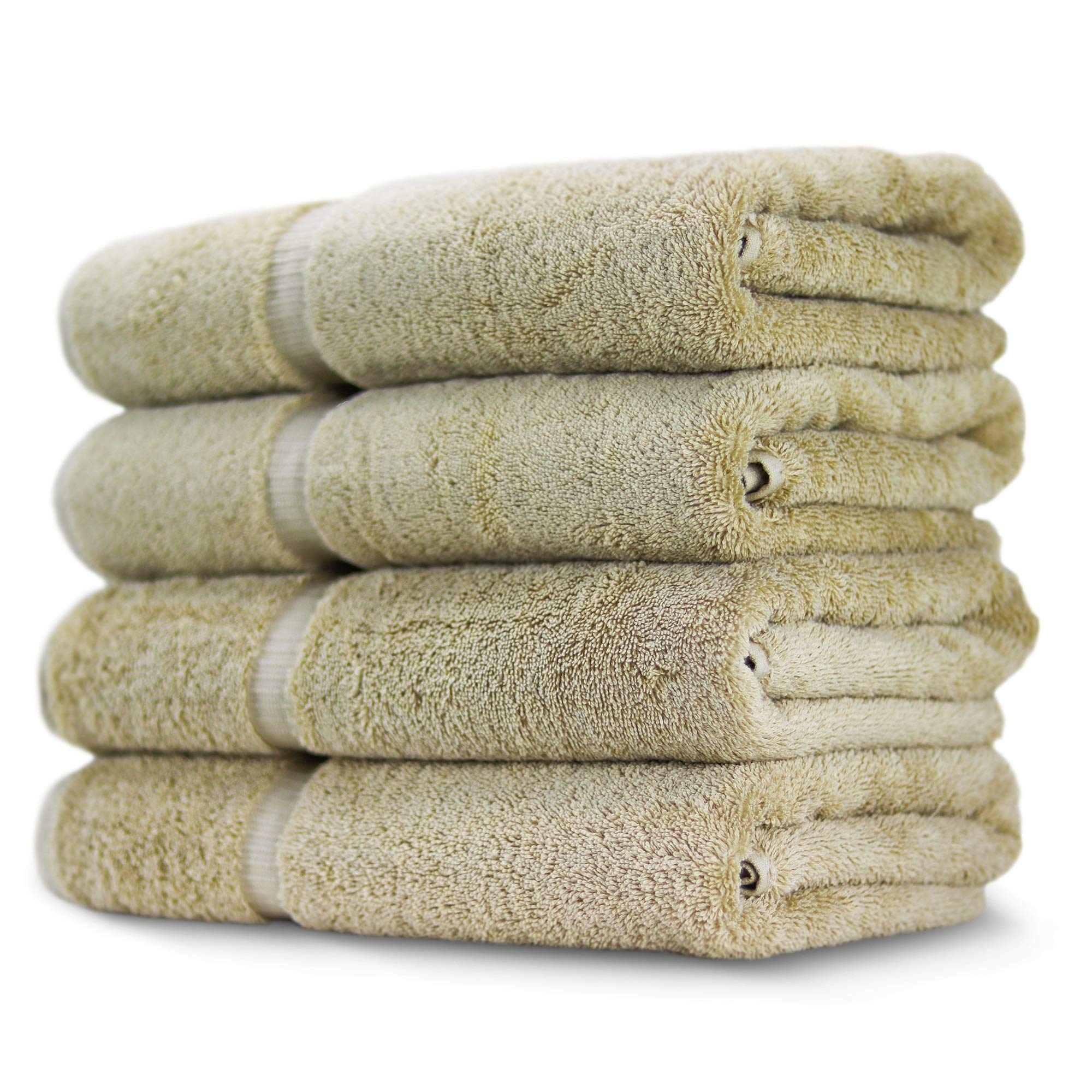 Towel Bazaar Premium Eco-Friendly 100% Turkish Cotton Hand Towel Set of 4, Multipurpose Bathroom Towels for Hand, Face, Gym and Spa (16 x 30 inches, Driftwood) by Towel Bazaar (Image #2)